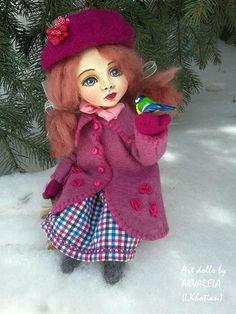 """Art doll """"A little  bluebird"""" Handmade doll OOAK doll Art doll Collectible cute doll a gitl and a bird"""
