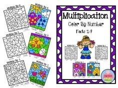 Spring Multiplication Color By Number ~ 2's to 9's. Students solve the multiplication facts and then color the picture by the code. One page for each multiplication fact (2-9) is included. These can be used for early finishers, math stations, centers, small groups, homework, assessment, reinforcement and enrichment.