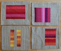 Crimson, Pink, Blood Orange and Saffron - Red inspired mini quilts by shecanquilt, via Flickr