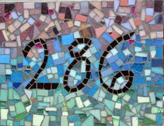 Mosaic House Numbers by mosaic artist Cynthia Fisher - B I G  B A N G  M O S A I C S