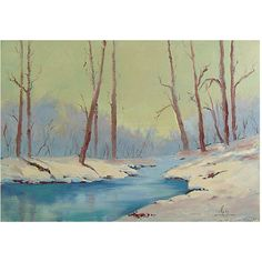 Pre-Owned Forest Stream In Winter ($389) ❤ liked on Polyvore featuring home, home decor, wall art, multi, canvas oil paintings, unframed wall art, winter oil paintings, winter paintings and winter forest painting