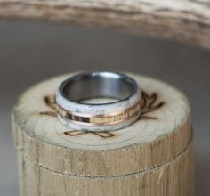 CHAROITE STONE ELK ANTLER WHISKEY BARREL OAK WEDDING RING