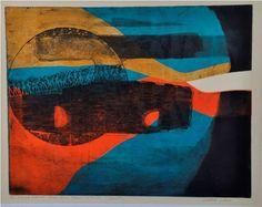 """ISABEL PONS - """"Cosmotur"""", gravura em metal colorida, prova única, chapa destruída. Assinada, 43x54 cm."""