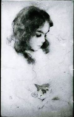 Beaux, Cecilia, 1866-1942, artist.	Francesca with a Kitten [drawing]1897.  Scans of 2 d images in public domain believed to be free to use without restriction in the US.