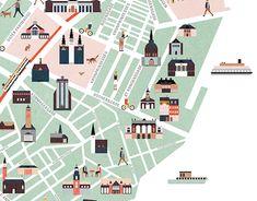 """다음 @Behance 프로젝트 확인: """"Copenhagen map illustration """" https://www.behance.net/gallery/20232947/Copenhagen-map-illustration-"""