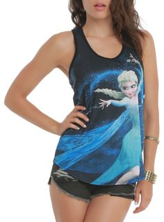 Racer back tank top from Disney's Frozen with large Elsa sublimation print design on front.