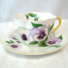 Vintage Tea Cup and Saucer Pansy Fine Bone China by mystuffvintage, $55.00