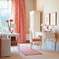 White Furniture Furniture - Coral accent - Grey Head board? - bedroom ideas