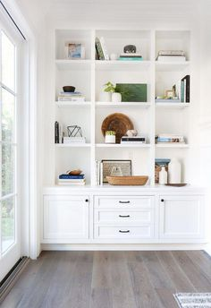 """Inspiration: Soft and Warm Love the shaker style doors; note the middle """"third"""" is larger than the two side panels; think squares.Love the shaker style doors; note the middle """"third"""" is larger than the two side panels; think squares. Bookshelf Styling, Bookshelves Built In, Bookcases, Bookshelf Ideas, Bookshelf Design, Custom Bookshelves, Modern Bookshelf, Decorating A Bookshelf, Bookshelf Inspiration"""