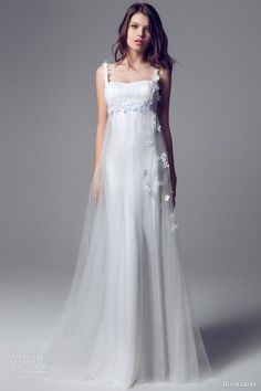 Blumarine Bridal - 2014 - Wedding Dress with Empire Waist, Tulle Overlay, Floral Appliques and Floral Straps Robe de Mariage Wedding Dresses 2014, Wedding Attire, Bridal Dresses, Wedding Gowns, Bridesmaid Dresses, Grecian Wedding, Tipi Wedding, Flapper Dresses, Blush Dresses