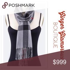 """AVAILABLE 11/3 Item# 1052 . Welcome Fall with this gorgeous Plaid Scarf! Pairs perfectly with any outfit! . Mad For Plaid Fashion Scarf COLOR: Grey Polyester  Length: 80"""" Width: 28"""" . QUANTITIES ARE LIMITED! Accessories Scarves & Wraps"""
