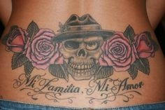 My lower back tattoo - skull, roses  typography.