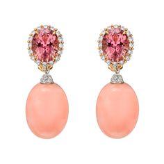 Paolo Costagli Pink Coral & Diamond Earring Pendants