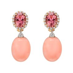 Paolo Costagli Pink Coral & Diamond Earring Pendants