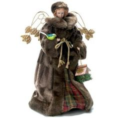 "Season's Designs 16"" Angel Tree Topper With Fur Hat And Coat"