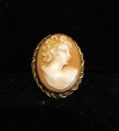 12Kt GF Carved Shell Cameo Pendant & Brooch Vintage 1930s Victorian Pin