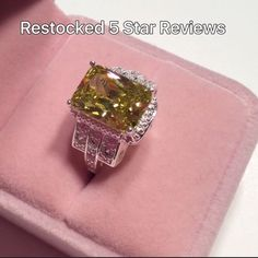 New 925 Stamped Sterling Silver Ring Peridot Stone Absolutely stunning ring. Very beautiful statement ring nice size but not too large. You will receive many complements on this piece. The pink box is a prop only it will not come with the ring. Jewelry Rings #stunningrings