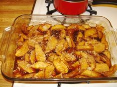 Hot Baked Cinnamon Apples Recipe I used 6 very large Melrose so I decreased the sugar to 1 cup. I cooked in the crockpot because I didn't have any room in the oven. I did 4 hours on low. When they were tender. I mixed in a teaspoon of cornstarch and water to thicken it a bit. I served with ham and it was a huge hit!!! The possibilities are endless!