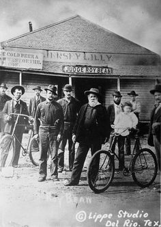 "Texas Hill Country  Cool photo of Judge Roy Bean (bearded) ""the Hanging Judge"". But, check out the ""floating girl""???"