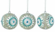 Silver Beaded Ball Ornament Trio