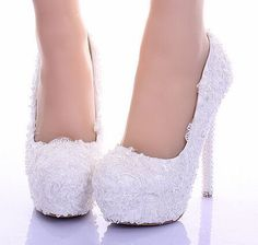 14cm Marriage shoes pure white lace pearl bride shoes ultra high heels comfortable dress single wedding shoes 39
