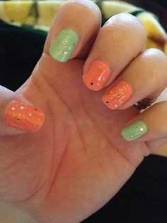 Coral and Antique teal with gold Accent sparkles #nailideas