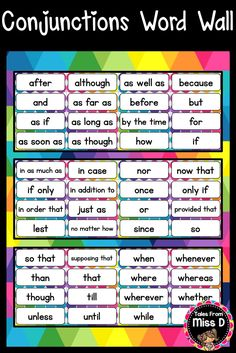 Help students develop their vocabulary by displaying this Conjunctions Word Wall. This pack is made up of 50 words, plus blank cards to add your own. © Tales From Miss D