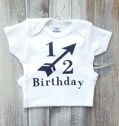 Boy Birthday Pictures, Baby Pictures, Boy Onesie, Onesies, Happy Half Birthday, Personalized Shirts, Stylish Baby, Birthday Shirts, Baby Boy Shower