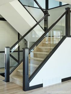 Dadoed Glass Railing - Glass Balcony Ideas , Dadoed Glass Railing Modern style is achieved through bringing together dadoed glass panels, mission posts, and hampton A rail. The sheerness of the g. Stairs With Glass Panels, Glass Stairs Design, Staircase Railing Design, Interior Stair Railing, Modern Stair Railing, Balcony Railing Design, Home Stairs Design, Modern Stairs, House Design