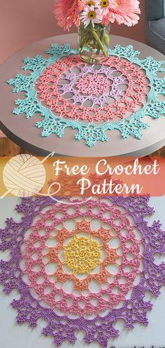 22 ideas crochet doilies free pattern ganchillo for 2019 Crochet Diy, Crochet Mittens, Thread Crochet, Crochet Gifts, Crochet Doilies, Crochet Braids, Crochet Mandala Pattern, Crochet Stitches Patterns, Sewing Patterns Free