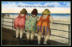 Vintage Illustrations - Shop Vintage Fat Bottomed Girls at Beach Postcard created by VintagerieEphemera. Personalize it with photos Fat Women, Drawing People, Belle Photo, Drawing Tutorials, Make Me Smile, Funny Quotes, Funny Humor, Funny Stuff, Poster