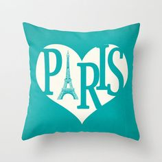 Paris Pillow Cover Turquoise Pillow Eiffel Tower Pillow Heart Pillow Decorative Pillow Love Throw Pillow - Your Color Choice 16 x 16 on Etsy, $37.00