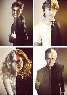 Daniel Radcliffe as Harry Potter, Rupert Grint as Ron Weasley, Emma Watson as Hermione Granger, and Tom Felton as Draco Malfoy.