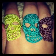 Unusual and Unique crochet skull rings. Made with cotton thread, the skulls are appox 2 high. The band is also crocheted and has a bit of Unique Crochet, Crochet Crafts, Crochet Yarn, Yarn Crafts, Crochet Flowers, Crochet Stitches, Crochet Projects, Free Crochet, Crochet Skull Patterns