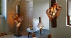 Wonderful And Timeless Diva Wooden Laminated Floor And Pendant Light Sculptures