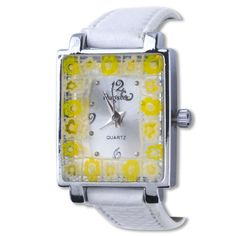 Watches - square white band yellow flower encircled millefiori watch gift murano glass jewelry fashion november women watch Image.
