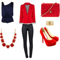Red blazer outfit - Polyvore