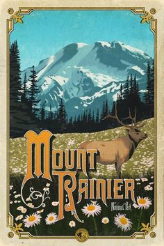 Add it to your collection of outdoor prints and other National Park art – looks great in all kinds of rooms from living room to a cozy library. DETAILS Your Mount Rainier National Park Poster is: Available in 4 easy to frame size options Individually han Wpa Posters, Poster S, Mount Rainier, Vintage National Park Posters, Voyage Usa, Mt Rainier National Park, Nature Posters, Park Art, Vintage Travel Posters