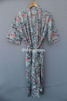 Cotton Kimono, Floral Kimono, Silk Kimono, Hand Printed Fabric, Printed Cotton, Printing On Fabric, Kimono Dressing Gown, Ikat Print, Long Kimono