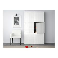 BESTÅ Storage combination with doors, black-brown, Djupviken white black-brown/Djupviken white - 120x40x192 cm