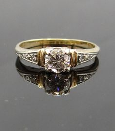 Vintage 1940s Two Tone Gold Diamond Engagement Ring - RGDI218P $1,165.00