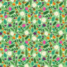 Flowers For The Bees fabric by heidikenney on Spoonflower - custom fabric