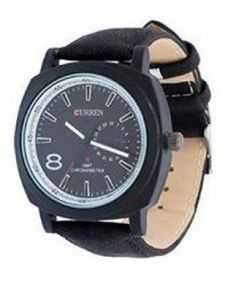 Curren Mens Black Dial Black Strap Watch
