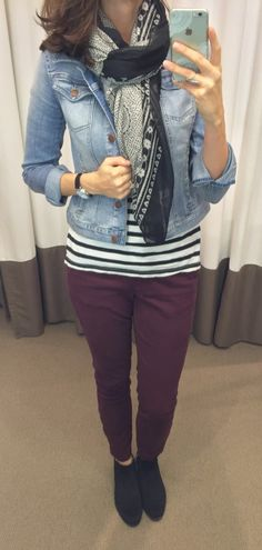 @LOFT denim jacket, scarf, striped tee, plum pants and black ankle booties outfit || loftycloset.com