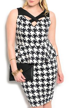 DHStyles Women's White Black Plus Size Sexy Fitted Houndstooth Cut Out Peplum Dress - Large Plus #sexytops #clubclothes #sexydresses #fashionablesexydress #sexyshirts #sexyclothes #cocktaildresses #clubwear #cheapsexydresses #clubdresses #cheaptops #partytops #partydress #haltertops #cocktaildresses #partydresses #minidress #nightclubclothes #hotfashion #juniorsclothing #cocktaildress #glamclothing #sexytop #womensclothes #clubbingclothes #juniorsclothes #juniorclothes #trendyclothing…