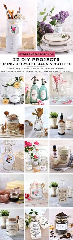 22 DIY ideas of using recycled jars and bottles - learn unique ways of recycling jars and bottles and find inspiration for creating your own home decor with Vintage, French and Shabby Chic touches and many more! Diy Beauty Projects, Easy Craft Projects, Easy Diy Crafts, Fun Crafts, Craft Ideas, Mini Milk Bottles, Wine Bottles, Decoupage, Recycled Jars
