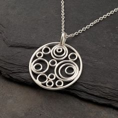 "Silver Circle Necklace- Silver Circle Pendant- Handmade Sterling Silver Necklace- Modern Artisan Pendant  ""Circle Cluster Necklace"""