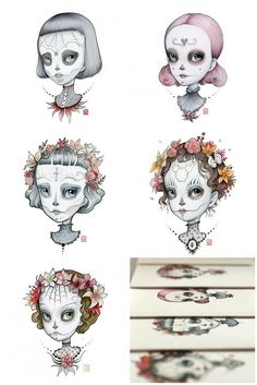 Dia de los Muertos - The Complete Collection - set of 5 Pop Surrealism Sugar Skull blank notecards- by Mab Graves