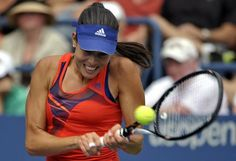 Ana Ivanovic d Tatishvili in the first round of US Open Ana Ivanovic, Us Open, First Round, Tennis Racket, Champs, Awesome