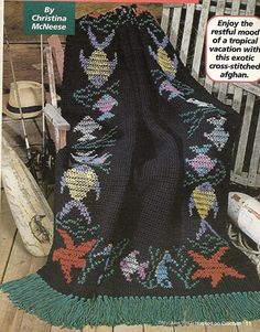 Tropical Fish Afghan Crochet Pattern Blanket by PatternMania3